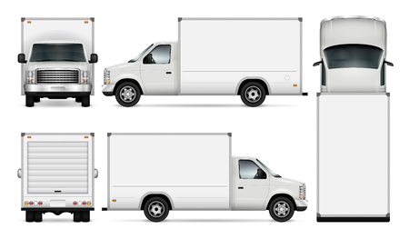 Ilustración de Van template for car branding and advertising. Isolated freight delivery truck set on white background. All layers and groups well organized for easy editing and recolor. View from side, front, back, top. - Imagen libre de derechos