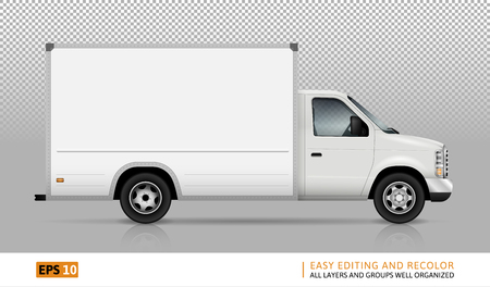 Illustration pour Van vector template for car branding and advertising. Isolated cargo delivery truck set on transparent background. All layers and groups well organized for easy editing and recolor. View from right side. - image libre de droit