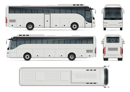 Illustration for Bus vector template for car branding and advertising. Isolated coach bus set on white background. All layers and groups well organized for easy editing and recolor. View from side, front, back, top. - Royalty Free Image