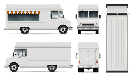 Ilustración de Food truck vector template for car branding and advertising. Isolated delivery van illustration on white. All layers and groups well organized for easy editing. View from side, front, back, top. - Imagen libre de derechos