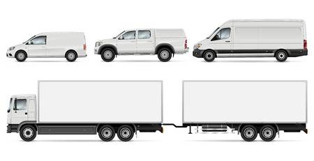 Ilustración de Cargo Transport Mock-up: Trailer Truck, Pickup, Van and Commercial Car. Vector Template For Car Branding And Advertising. All layers and groups well organized for easy editing and recolor. - Imagen libre de derechos