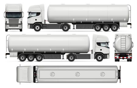 Ilustración de Tanker truck vector mock-up for car branding and advertising. Elements of corporate identity. - Imagen libre de derechos