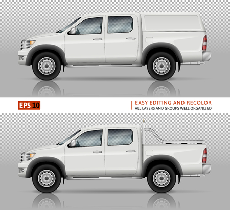 Ilustración de Pickup truck vector mock up for car branding and advertising. Pick up cars template. Elements of corporate identity. All layers and groups well organized for easy editing and recolor. - Imagen libre de derechos