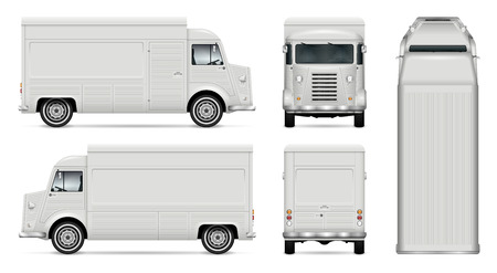 Ilustración de Food truck vector mock up for car branding, advertising, corporate identity. Mobile kitchen retro van template. All layers and groups well organized for easy editing. View from side, front, back, top. - Imagen libre de derechos