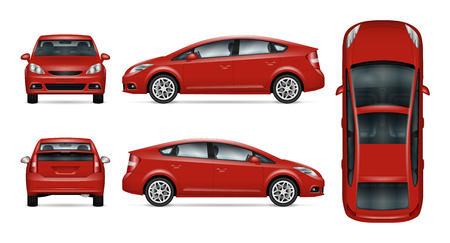 Illustration pour Red car vector mock-up. Isolated template of car on white background. Vehicle branding mock-up. Side, front, back, top view. All elements in the groups on separate layers. - image libre de droit