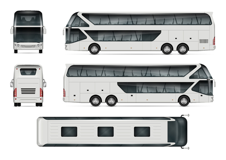 Ilustración de Bus vector mock-up. Isolated template of tour coach on white background. Vehicle branding mockup. Side, front, back, top view. All elements in the groups on separate layers. Easy to edit and recolor. - Imagen libre de derechos