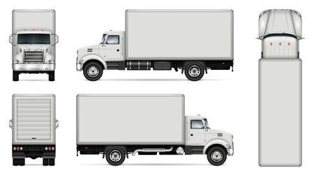 Ilustración de Truck vector mock-up. Isolated template of lorry on white background. Vehicle branding mockup. Side, front, back, top view. All elements in the groups on separate layers. Easy to edit and recolor. - Imagen libre de derechos