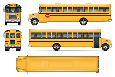 Illustration for School bus vector mock-up. Isolated template of city transport on white background - Royalty Free Image