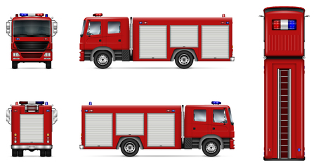 Ilustración de Fire truck vector mock-up. Isolated template of red lorry on white. Vehicle branding mockup. Side, front, back, top view. All elements in the groups on separate layers. Easy to edit and recolor. - Imagen libre de derechos