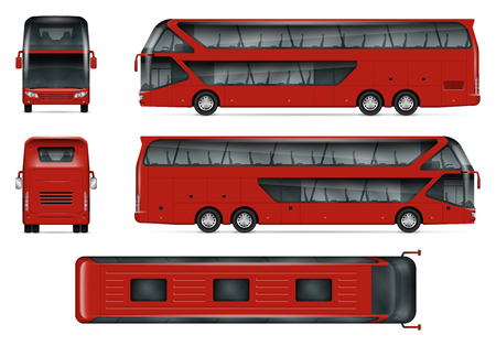 Illustration for Bus vector mock-up Isolated template of red travel coach on white. Vehicle branding mockup, view from side, front, back and top. - Royalty Free Image