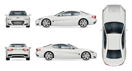 Illustration for Car vector mock-up. Isolated template of supercar on white background. Vehicle branding mockup. Side, front, back, top view. - Royalty Free Image