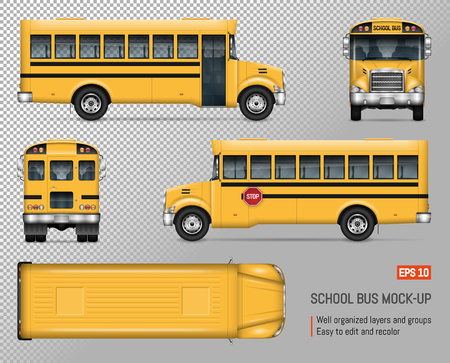 Illustration for School bus vector mock-up. Isolated template of yellow autobus on transparent background. Vehicle branding mockup, view from side, front, back and top. - Royalty Free Image