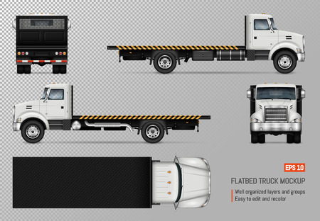 Ilustración de Flatbed truck vector mockup. Isolated template of the white lorry on transparent background for vehicle branding, corporate identity. View from left, right, front, back, and top sides. - Imagen libre de derechos
