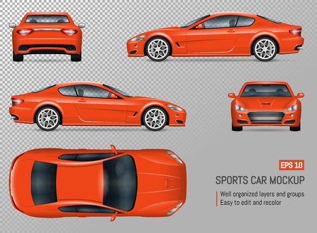 Ilustración de Sports car vector mockup. Isolated template of supercar on transparent background for vehicle branding, corporate identity. View from left, right, front, back, and top sides - Imagen libre de derechos