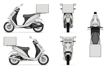Illustration pour Delivery Scooter vector mockup on white for vehicle branding, corporate identity. View from side, front, back, and top. All elements in the groups on separate layers for easy editing and recolor - image libre de droit