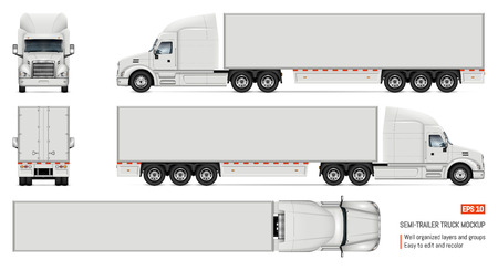 Ilustración de Semi trailer truck vector mockup for car branding and advertising. Isolated lorry Cargo vehicle set on white background. View from side, front, back, top - Imagen libre de derechos