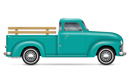 Illustration for Retro pickup vector illustration on white background. Isolated green old truck side view. All elements in the groups on separate layers for easy editing and recolor. - Royalty Free Image