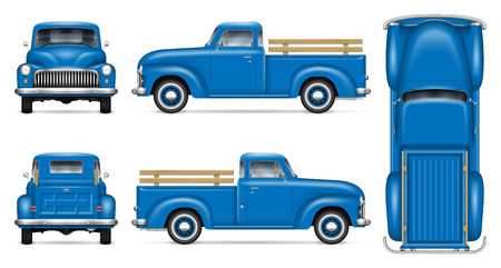 Ilustración de Classic pickup truck vector mockup on white background. Isolated blue vintage lorry view from side, front, back, top. All elements in the groups on separate layers for easy editing and recolor. - Imagen libre de derechos