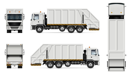 Ilustración de Realistic white garbage truck vector mockup. Isolated template of dump lorry on white background for vehicle branding, corporate identity. View from right side, easy to editing and recolor. - Imagen libre de derechos