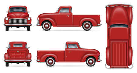 Illustration pour Retro car vector mockup on white background. Isolated red pickup truck view from side, front, back, top. All elements in the groups on separate layers for easy editing and recolor. - image libre de droit
