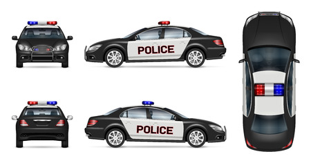Ilustración de Police car vector mockup on white background, view from side, front, back and top. All elements in the groups on separate layers for easy editing and recolor - Imagen libre de derechos