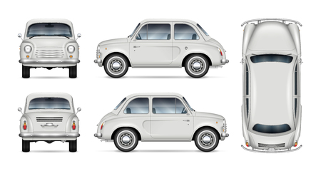 Illustration pour Small retro car vector mockup on white background. Isolated template of minicar for vehicle branding, advertising and corporate identity. All elements in the groups on separate layers for easy editing - image libre de droit