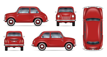 Ilustración de Small retro car vector mockup on white background. Isolated template of the red minicar for vehicle branding, advertising and corporate identity. All elements in the groups on separate layers - Imagen libre de derechos