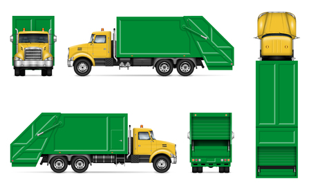 Illustration pour Realistic white garbage truck vector mockup. Isolated template of dump lorry on white background for vehicle branding, corporate identity, easy to editing and recolor. - image libre de droit