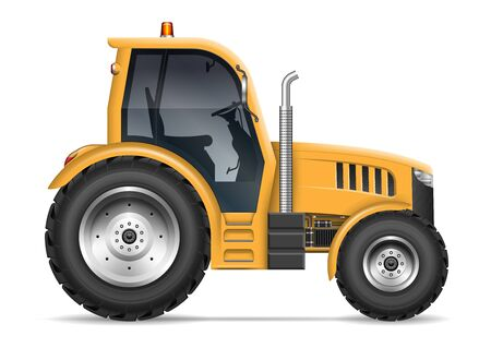 Illustration pour Yellow agricultural tractor with side view isolated on white background. All elements in the groups on separate layers for easy editing and recolor - image libre de droit