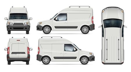Illustration pour Mini cargo van vector mockup for vehicle branding, advertising, corporate identity. View from side, front, back, top. All elements in the groups on separate layers for easy editing and recolor - image libre de droit