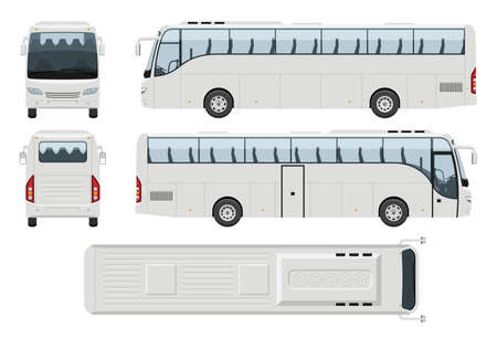 Illustration for Coach bus vector template with simple colors without gradients and effects. View from side, front, back, and top - Royalty Free Image