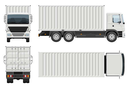 Illustration pour Container truck vector template with simple colors without gradients and effects. View from side, front, back, and top - image libre de droit