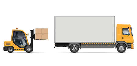 Illustration for Forklift loading boxes into delivery truck side view vector illustration. Warehouse and storage equipment. Logistic and shipping cargo. - Royalty Free Image