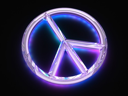 Peace sign with light