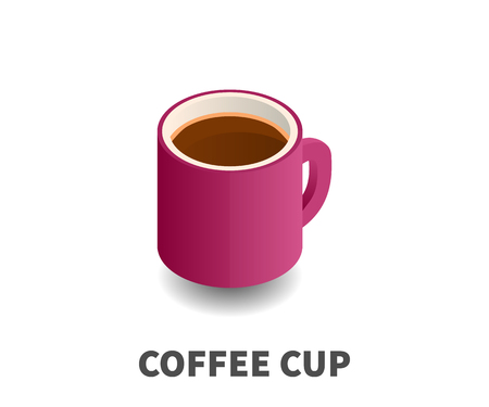 Coffee cup icon, vector symbol in isometric 3D style
