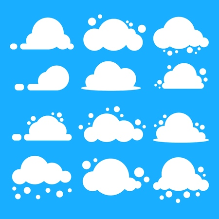 Illustration for Flat cloud set. White clouds on blue background. EPS10 Vector. - Royalty Free Image