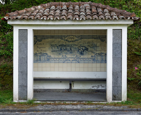 Bus Stop with old ceramics in Furnas from the island of Azores in Portugal