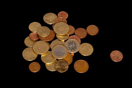 Euro cents isolated over black