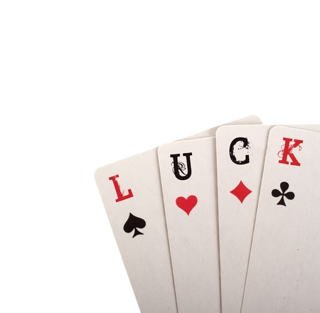 Four card. Luck concept with copyspace