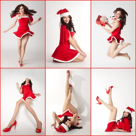 collage - happy smiling woman in red xmas sexy costume