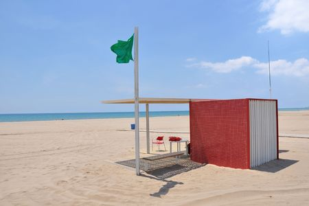 beach rescue station at bright summer day in Barcelona area, Spain