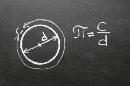 Handwritten on school blackboard definition of main mathematical constant the number PI  It is the circumference of any circle, divided by its diameter