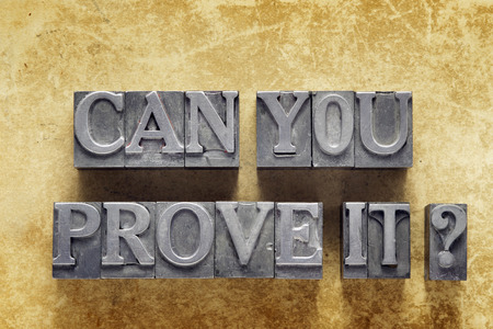 can you prove it question made from metallic letterpress type on vintage cardboard