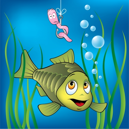 Funny fish and scared worm