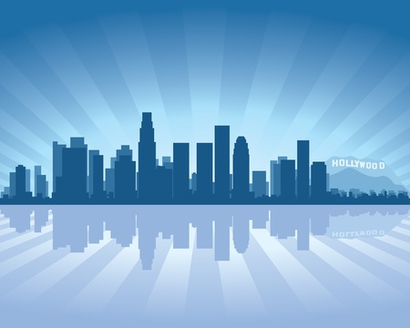 Illustration pour Los Angeles skyline with reflection in water - image libre de droit