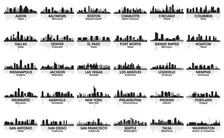 Incredible set of USA city skyline  30 cities