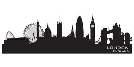 London, England skyline. Detailed silhouette.