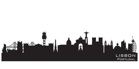 Lisbon Portugal skyline Detailed vector silhouette