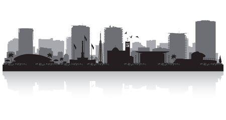 Illustration pour Darwin Australia city skyline vector silhouette illustration - image libre de droit