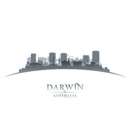 Illustration pour Darwin Australia city skyline silhouette. Vector illustration - image libre de droit
